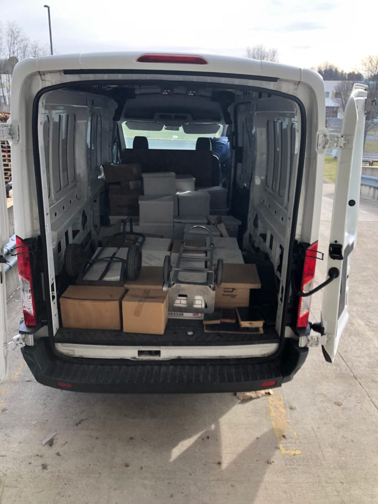 Boxes in Van