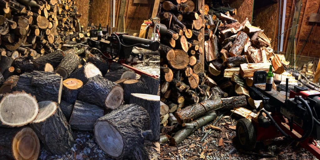 Wood Splitting Before and After