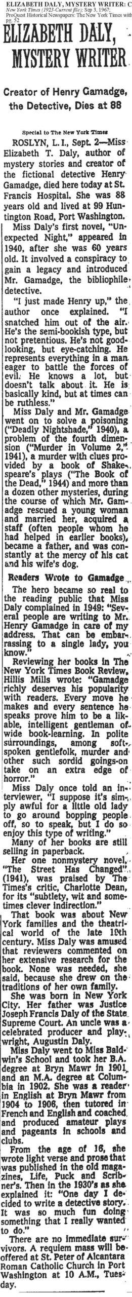 Elizabeth Daily NY Times Obituary