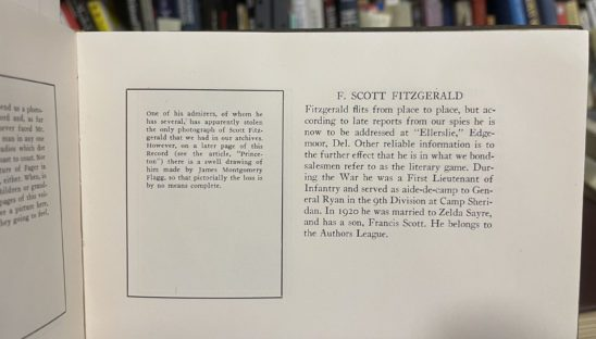 Princeton Yearbook with Fitzgerald